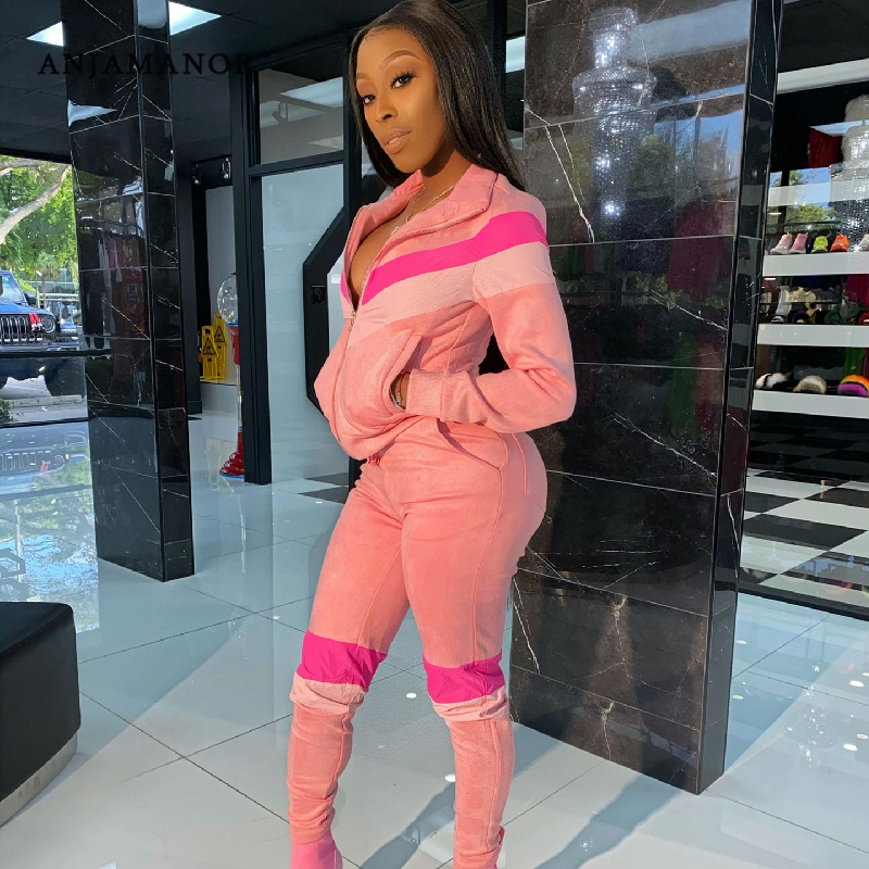 ANJAMANOR Fashion 2 Piece Sets Womens Outfits Sports Womans Tracksuit 2020 Two Piece Set Top And Pants Sweat Suits D25-AH72