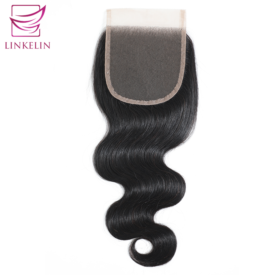 LINKELIN HAIR Brazilian Body Wave Closure Free/Middle/Three Part Hand Tied 100% Remy Human Hair 4*4 Lace Closure Nature Color