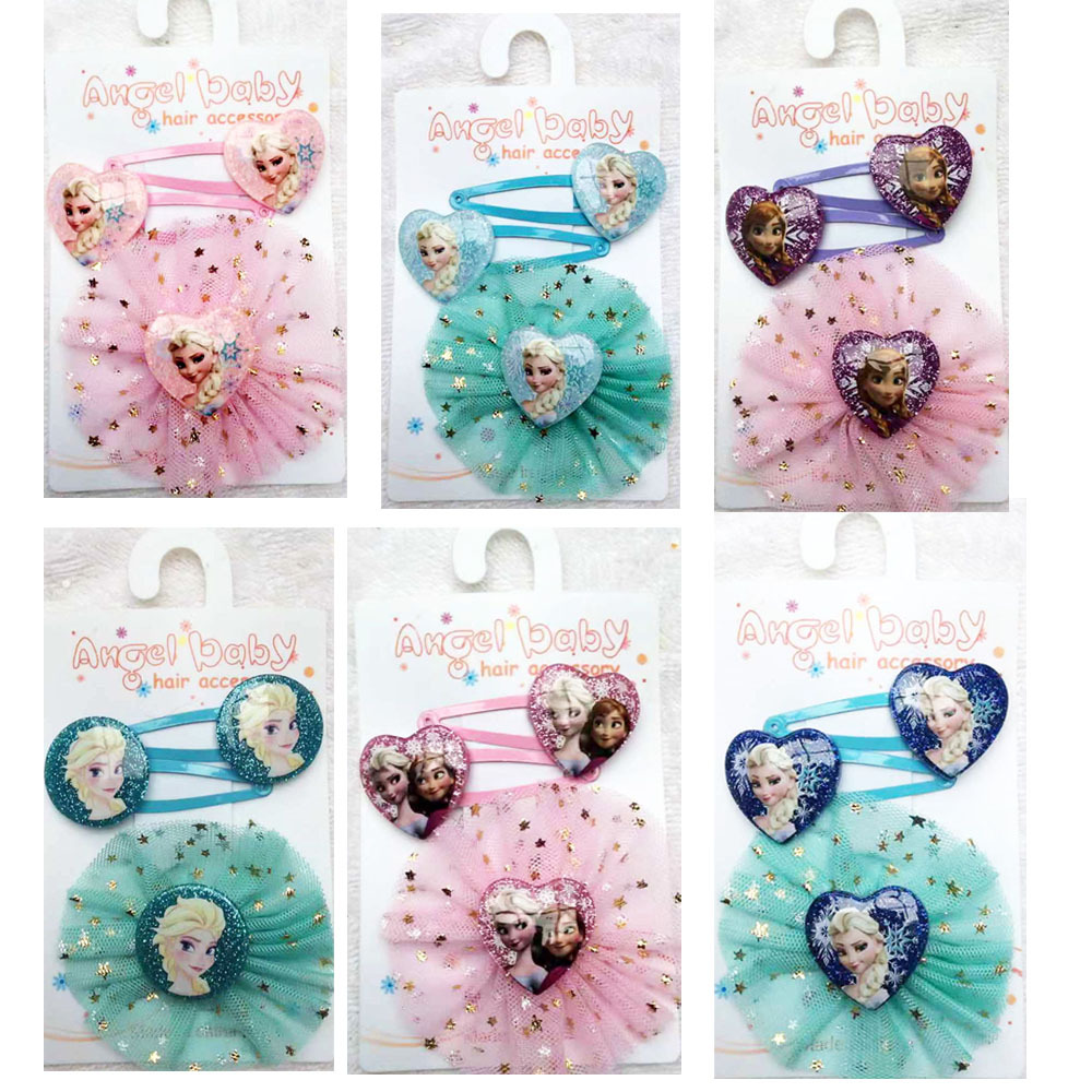2020 New Frozen Elsa Anna Princess Hairpin Hair Clip Set Fresh And Cute Head Dress Hairpins For Kids Baby Hair Accessories Gift