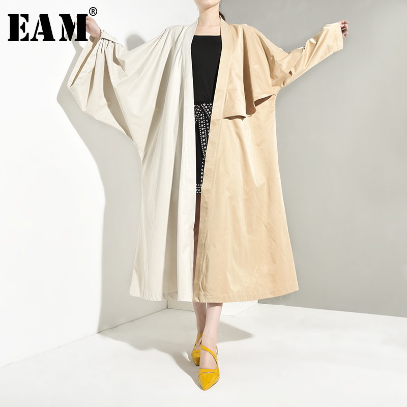 [EAM] Women Contrast Color Oversize Long Trench New V-collar Long Sleeve Loose Fit Windbreaker Fashion Autumn Winter 2019 JQ9380