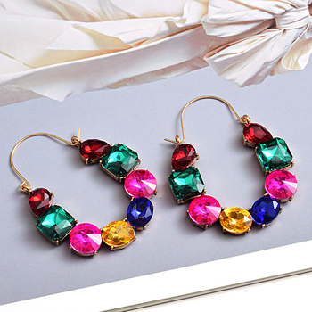 Colorful Rhinestones Crystals Circular Earrings  4