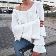 KIYUMI Sweater Women Pullover Knitting Bottoming Top Cascading Flare Sleeve Casual 2019 Autumn Winter Female New