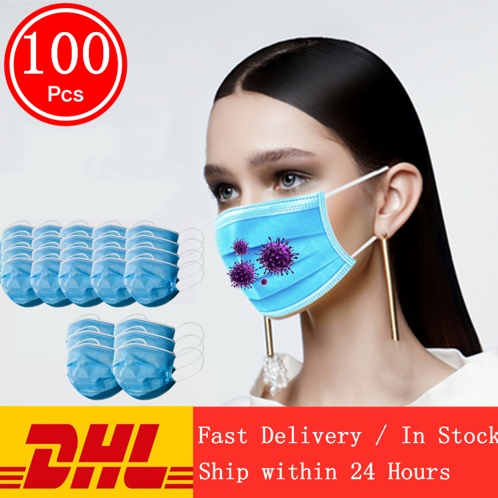 Fast delivery 3-layer mask 100pcs Face Mouth Masks Non Woven Disposable Anti-Dust Meltblown cloth Masks Earloops Masks