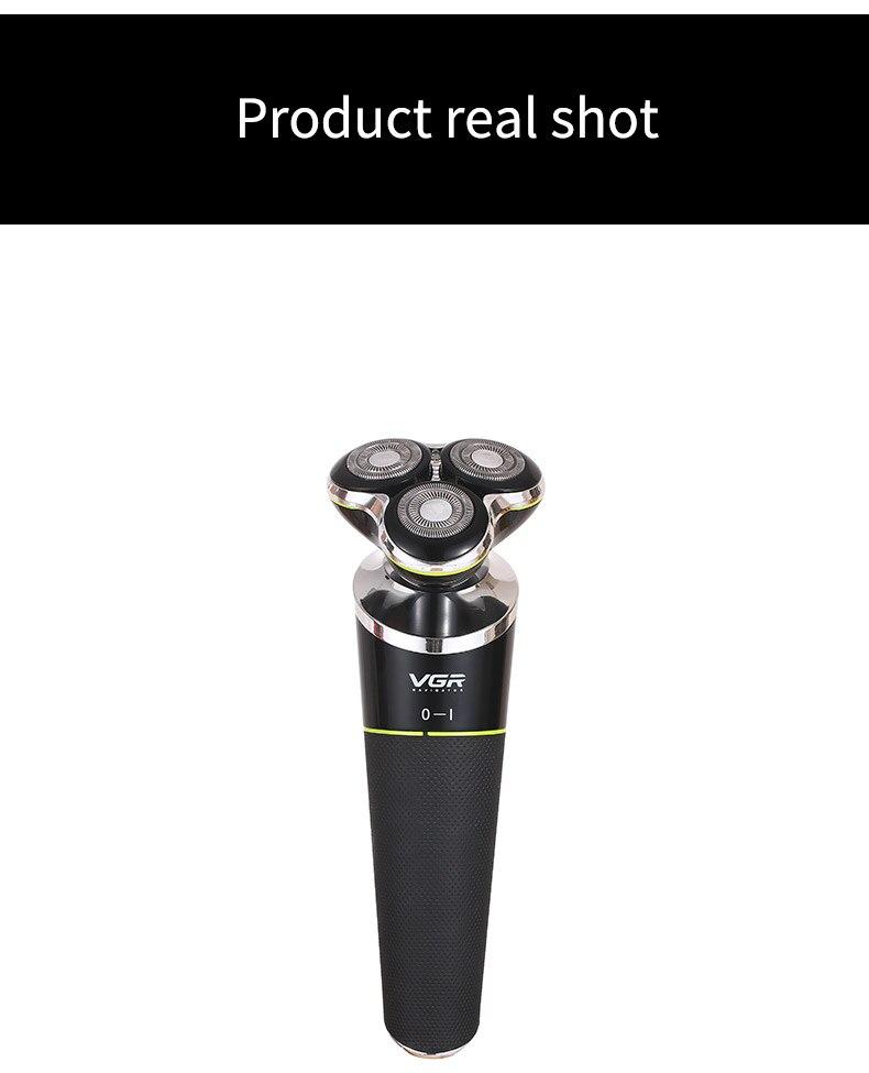 Barbeador elétrico rotativo de 3 lâminas usb