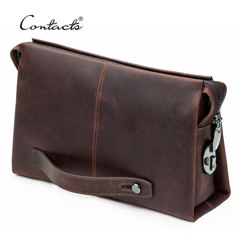 Мужской клатч CONTACT'S из натуральной кожи, вместительные кошельки для сотового телефона, дизайнерский деловой длинный бумажник с кодовым зам...