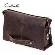CONTACT'S – pochette en cuir véritable pour hommes, portefeuille de grande capacité pour téléphone portable, pochette à serrure à code, Design Business Long