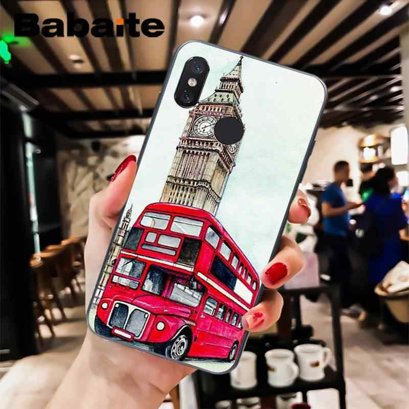 Babaite Recém estilo ônibus de londres inglaterra britânico do vintage telefone Caixa Do Telefone Para XiaoMi 6 MIX2 8SE K20 REDMI 5A NOTE4X 7 6A