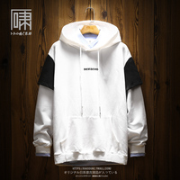 Splice Cartoon Hoodie Hooded Men Fashion Loose Cotton Printing Streetwear 2019 College Cat Letters Sportswear Tracksuit Clothing