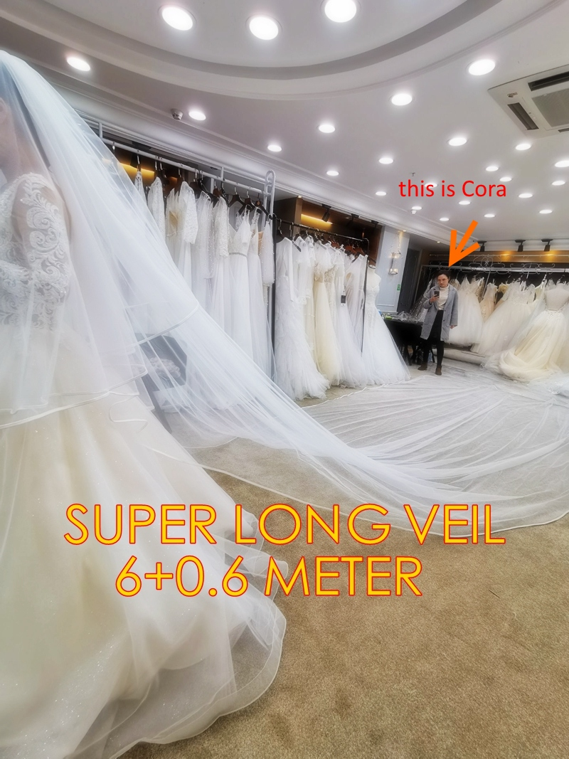 Super Long 6 Meters Double Layer Simple Satin Ribbon Edge 3m Width Bridal Veil Headpiece Wedding Accessoires