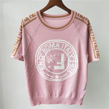 Women High Quality Wool Knitting T-Shirt Female 2021 New Summer Fashion Casual Tops Ladies Luxury Brand Embroidery Letter Tees R