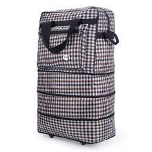 Możliwość rozbudowy 3 warstwy duża pojemność torba do przechowywania podróżna toczenia na kółkach ruchu walizka torba na bagaż do podróży na zewnątrz tanie tanio NYLON Wszechstronny Miękkie Na co dzień zipper Plaid Podróż skrzynki