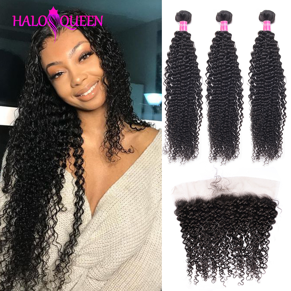 HALOQUEEN Brazilian Kinky Curly Bundles With Frontal 13 * 4 Lace Frontal Non-remy Pre-plucked Human Hair 3 Bundles With Closure