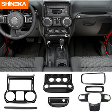 SHINEKA Interior Mouldings 10pcs Carbon Fiber ABS Interior Decoration Trim Kit For Jeep Wrangler JK JKU 2011 2017 Accessories