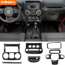 Shineka molduras interiores 10 pces abs de fibra de carbono decoração interior guarnição kit para jeep wrangler jk jku 2011 2017 acessórios