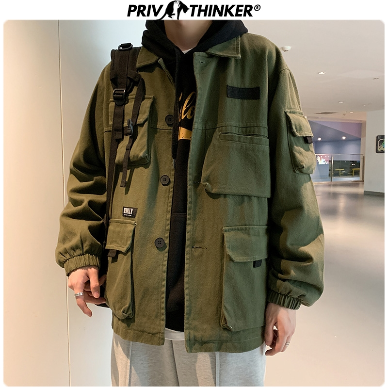 Privathinker Men Spring Safari Style Jackets 2020 Men's Hip Hop Fashion Cotton Jacket Clothes Male Unisex Fashion Coat Oversize
