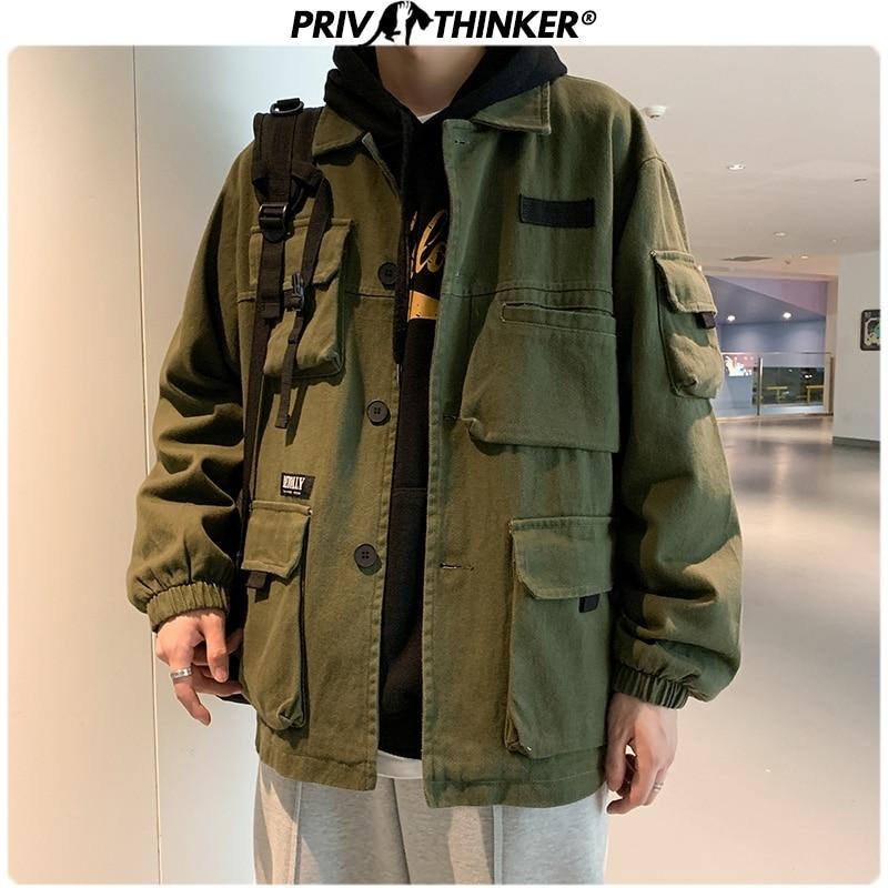 Privathinker Men Spring Safari Style Jackets 2020 Men's Hip Hop Fashion Cotton Jacket Clothes Male Unisex Fashion Coat Oversize