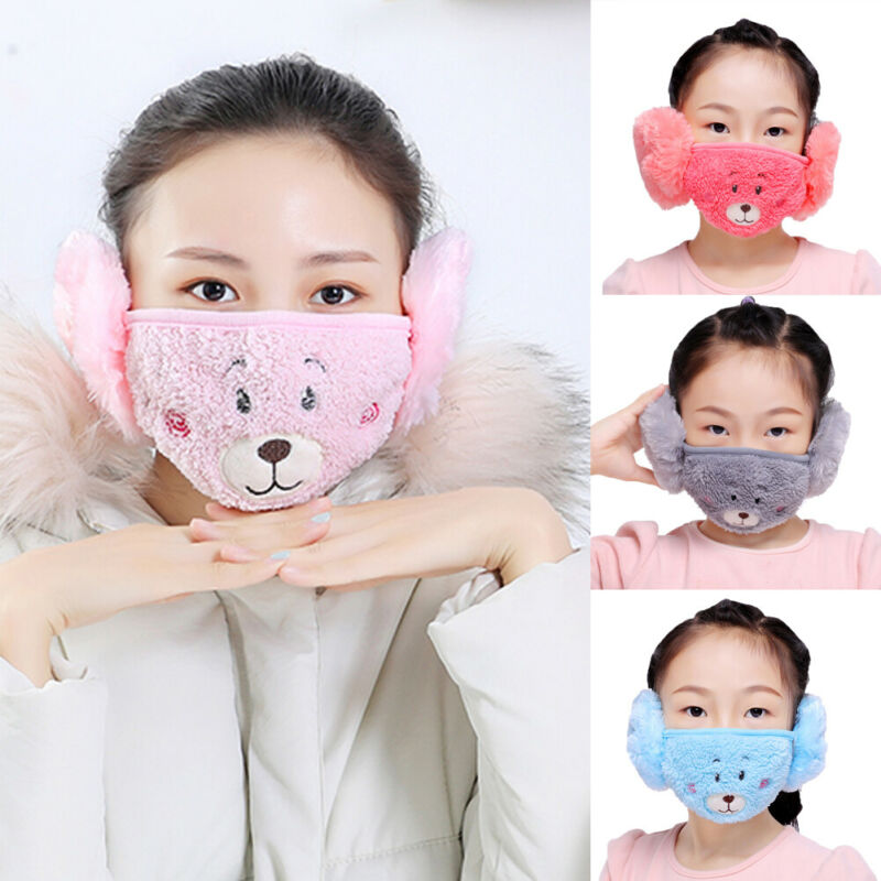 Cartoon Dust Mask Earmuffs New Arrival Winter Warm Masks Ear Windproof Warm Face Mouth Mask For Mom Kids Earmuffs Accessories