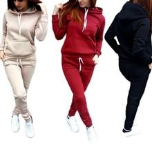OEAK 2 Piece Set Women Hoodies Pant Clothing Warm Newest Clothes Ladies Solid Tracksuit Top Pants Suit Female