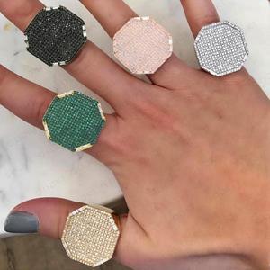 Image 1 - Godki 2019 na moda geometria quadrada zircão cúbico pilhas anéis para as mulheres anéis de dedo grânulos charme anel boêmio praia jóias 2019