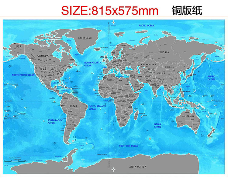 Scratch Off World Map Ocean Edition-Travelers Explorers Gift Office Supplies Social Studies Materials Educational Accessories