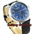 Мужские часы Parnis 42 мм Топ бренд механические мужские часы синий циферблат серебристый футляр для часов синий циферблат с датой кожа автомат...