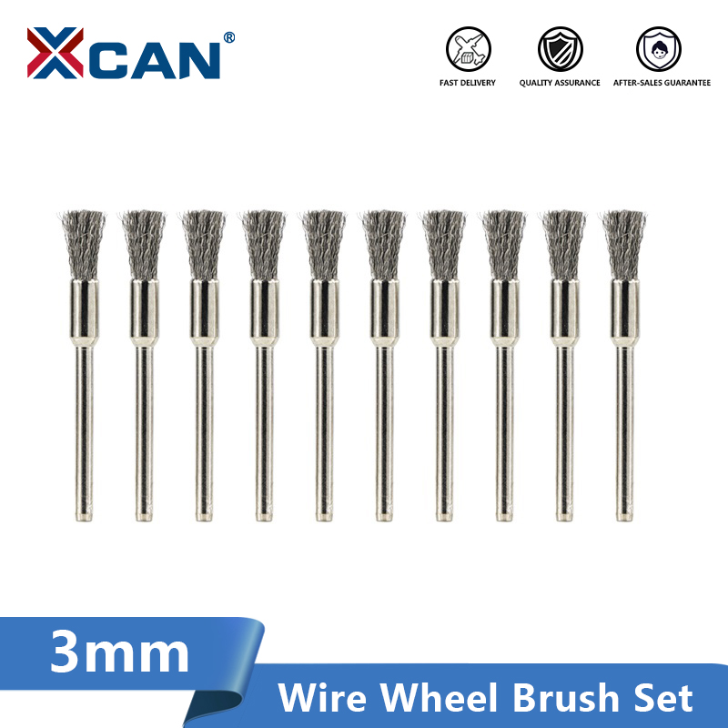 XCAN Wire Wheel Brush 3.0mm Shank Stainless Steel /Nylon/Brass Polishing Brush For Dremel Rotary Tools