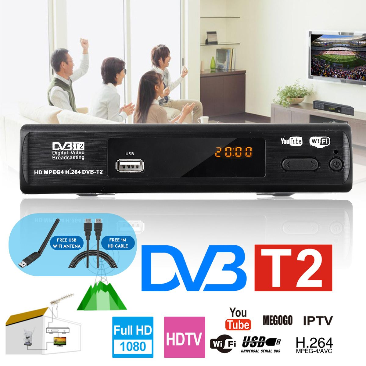 HD 1080p Tv Tuner Dvb T2 Vga TV Dvb-t2 For Monitor Adapter Tuner Receiver Satellite Decoder Dvbt2 Tv Box Tuner Russian Manual
