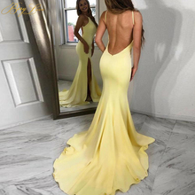 BeryLove Bright Yellow Long Evening Dress Low Open Back Gown Slit Court train Formal Party Dress Prom Special Occasion Dresses