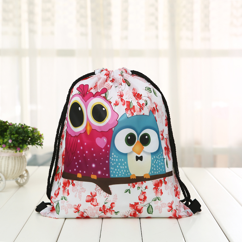 Drawstring Owl New Backpack Fashion Women Printing  Knapsack Men Casual Bags Unisex Women's Cartoon Animal Shoulder Drawstring