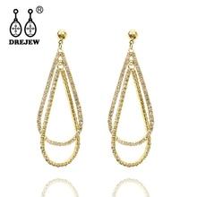 DREJEW Brand Big Hollow Water Drop Geometric Hyperbole Design 925 Gold Silver Needle Earrings Sets for Women Jewelry HE914