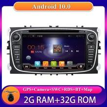 Autoradio Android 10.0, 2 go/32 go, DVD, CD, caméra, micro, enregistreur cassette, pour voiture Ford Focus, s-max, Mondeo, Galaxy, Kuga Quad Core