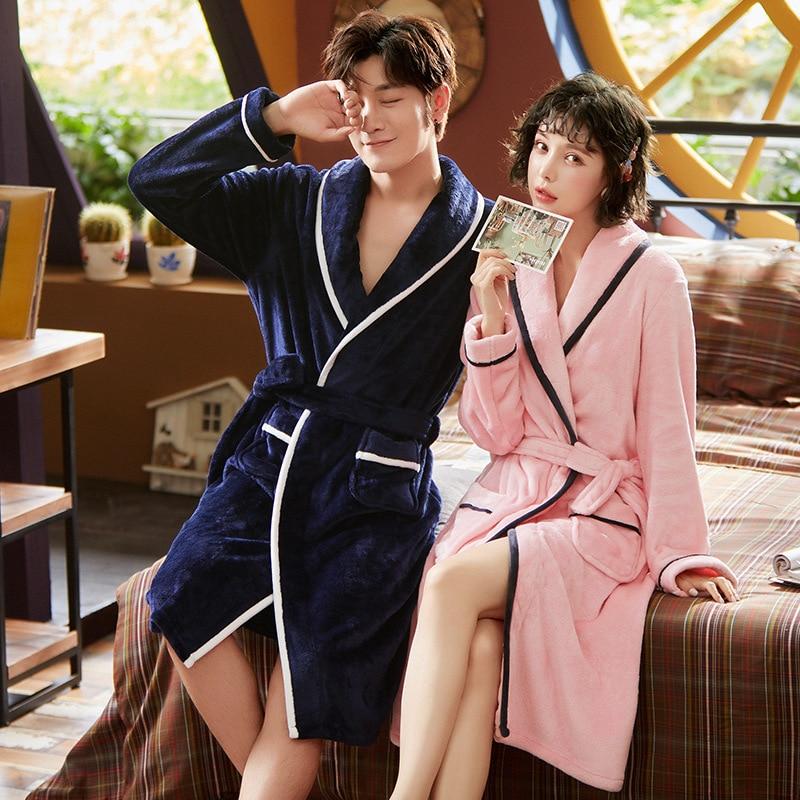Long sleeve unisex adult and cild robe warm winter Kimono Robe Bathrobe parent-child wear home service thickening boys robe