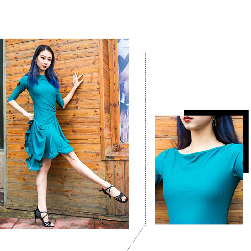 Image 5 - 2020 New Latin Dance Dress Women Long Sleeve Tango Rumba Ballroom Fashion Modern Salsa Cha Cha Latin Dance SkirtLatin   -
