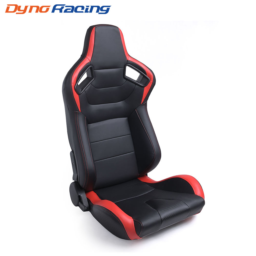 2PCS Car Racing Seats Adjustable Black Red PVC Leather Recline Bucket Sport Seats Universal