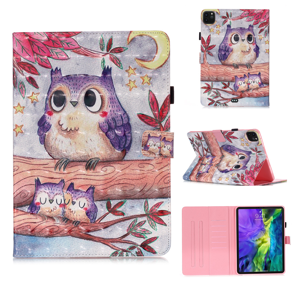 2 White Fashion Painted Stand Case for IPad Pro 11 2020 Case 2018 PU Leather Cover Case for