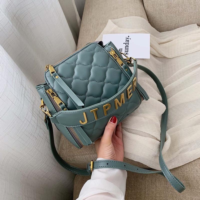 2019 New   Small Bag Fashion Hand-held Bag Embroidery Line Bucket Bag Women's Bag One Shoulder Slant Bag