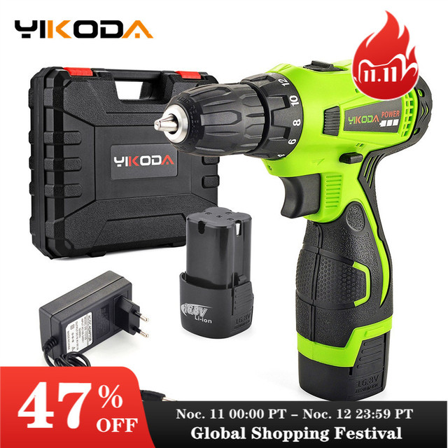 YIKODA 16.8V Cordless Drill Double Speed Lithium Battery Household Rechargeable Electric Screwdriver Power Tools