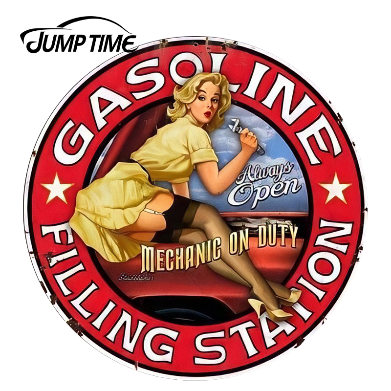 JumpTime 13cm x 13cm Filling Station Pinup Girl Sign Vinyl Car Sticker for Window Bumper Car Stickers Sexy Graphic