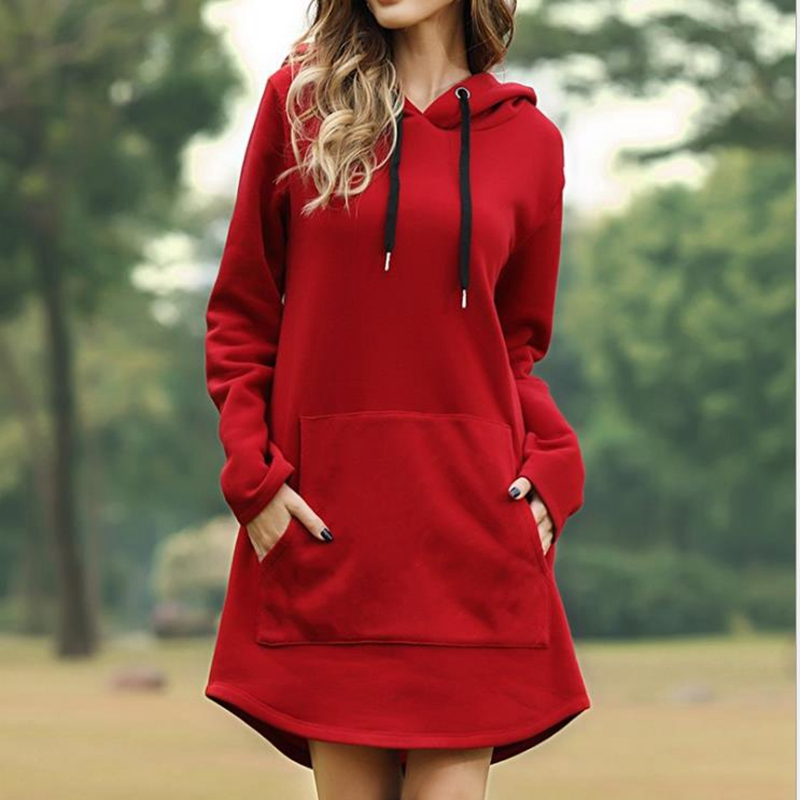 Free Shipping Fashion Women's Clothing Autumn Best Selling Casual Sweatshirt  Solid Color Hooded Women's Long Coat Plus Size