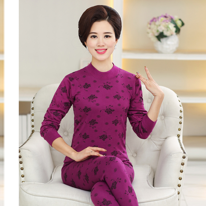 M-5XL 95%Cotton Printed Turtleneck Second Female Thermal Skin Middle-aged Women's Thermal Underwear  Set Warm Winter Long Johns