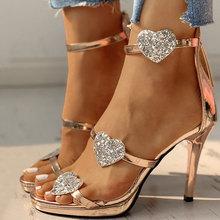 2020 New Spring Women High Heels Summer Rear Zipper Peep Toe Heels Heart-shaped Sequins Women's