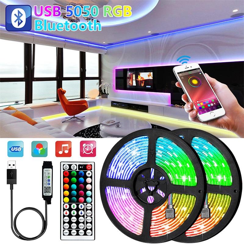 1 м с возможностью погружения на глубину до 30 м Bluetooth Светодиодные ленты светильник 5050 USB 5V RGB светильник s гибкие светодиодные лампы лента RGB Т...