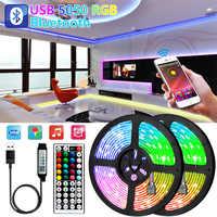 Tira de luces LED Flexible con Bluetooth 5050, cinta de diodo de retroiluminación para pantalla de TV de escritorio, 1M-30M, USB, 5V, RGB