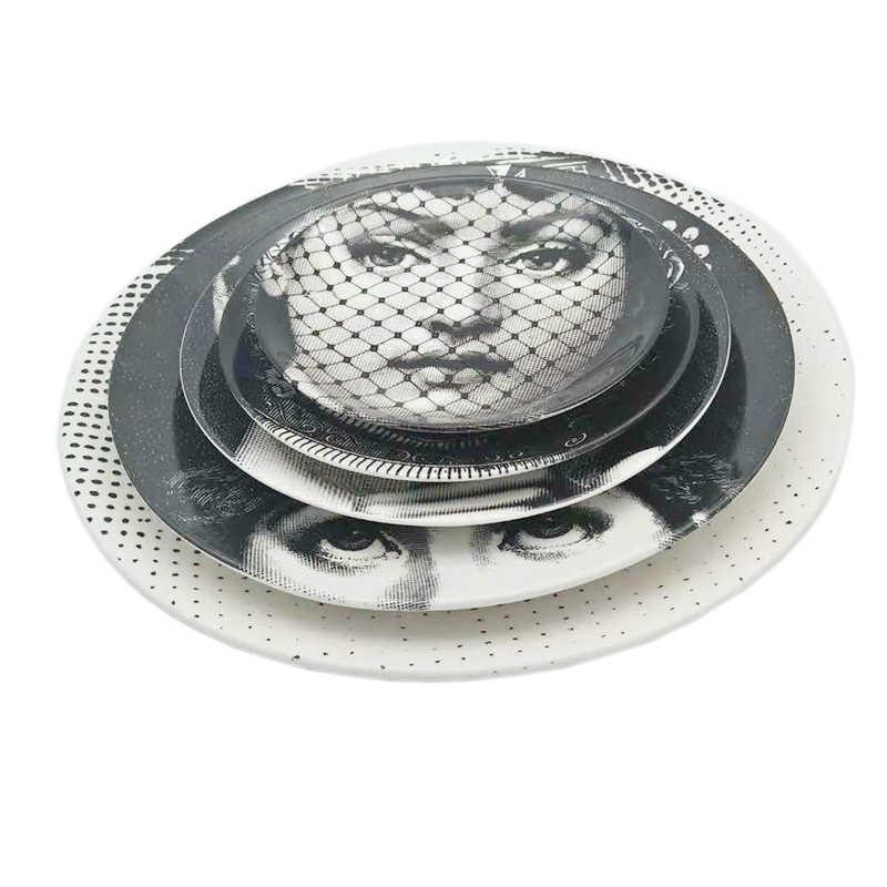 Menschliches Gesicht Künstlerische Platte Wand Hängen Gerichte Nordic Stil Weiß Schwarz Home Decor Dame Gesicht Keramik Runde Platte Schreibtisch Schmuck