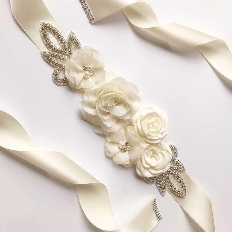 Floral sash belt Bridal dress sash Beige Wedding accessory
