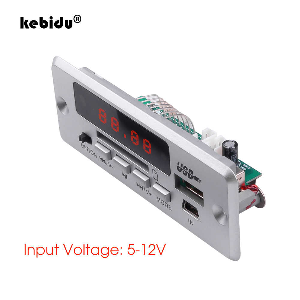 Kebidu 3.5mm usb aux bluetooth v5.0 receptor mp3 player 5 v 12 v placa de decodificador mp3 carro sem fio módulo rádio fm 1 din carro alto-falante
