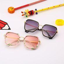Детские круглые квадратные солнцезащитные очки в стиле панк для маленьких мальчиков и девочек, металлические солнцезащитные очки UV400