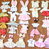 Dress up 16/17 cm bjd doll clothes 8 points O.b.11 baby clothes 6-inch rabbit ears suit with headdress skirt