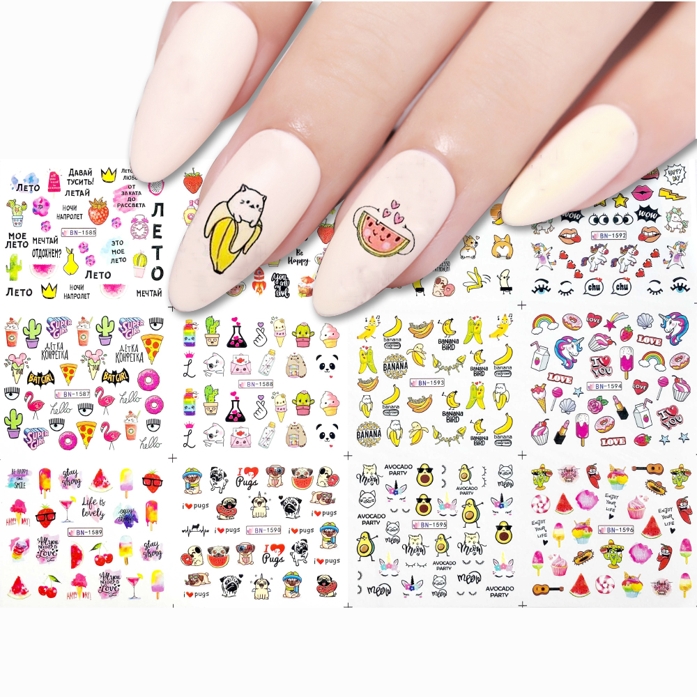 12 Styles Cake Ice Cream Nail Art Water Transfer Sticker Summer Series Friutes Drink For Nail Art Tattoo Decor Slider Decal