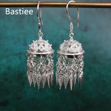 Bastiee Mongolian hat 999 Sterling Silver Tassel Earrings For Women Fine Jewelry Hmong Handmade Earring kolczyki Ethnic Vintage